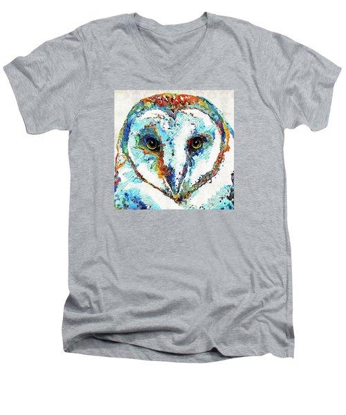 Colorful Barn Owl Art - Sharon Cummings Men's V-Neck T-Shirt by Sharon Cummings