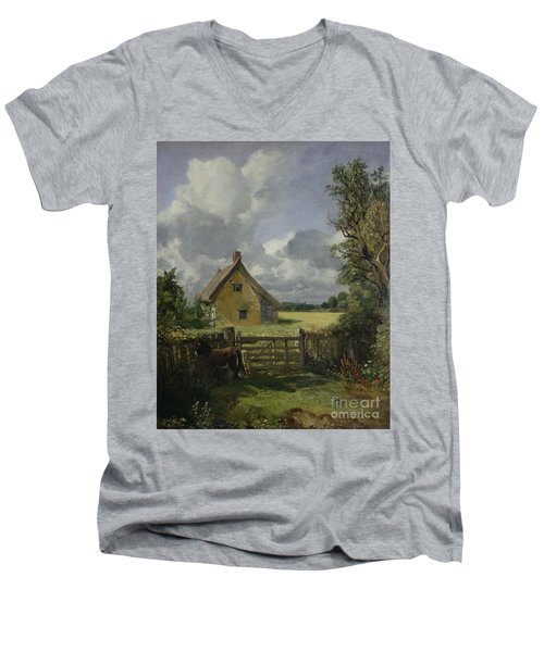 Cottage In A Cornfield Men's V-Neck T-Shirt by John Constable