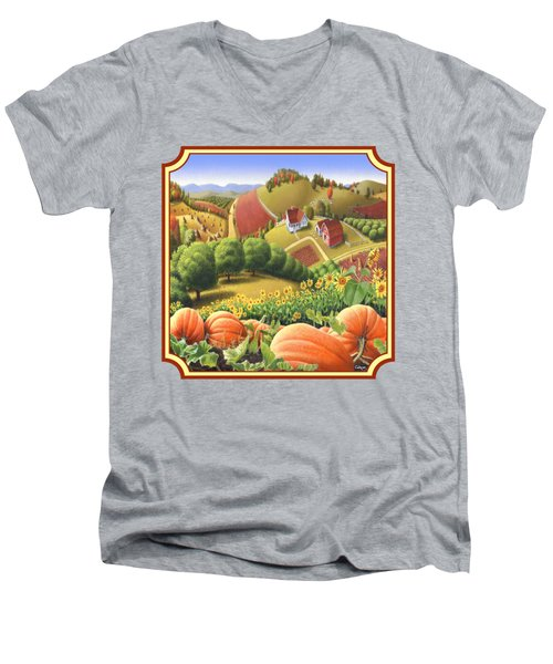 Country Landscape - Appalachian Pumpkin Patch - Country Farm Life - Square Format Men's V-Neck T-Shirt by Walt Curlee