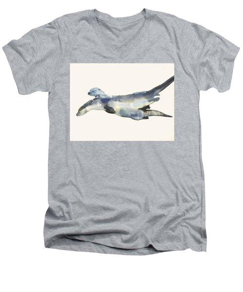 Courting Otters  Men's V-Neck T-Shirt by Mark Adlington