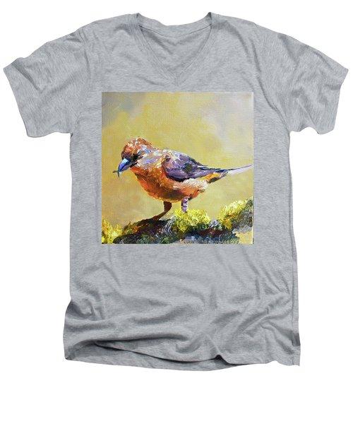 Crossbill Men's V-Neck T-Shirt by Jan Hardenburger