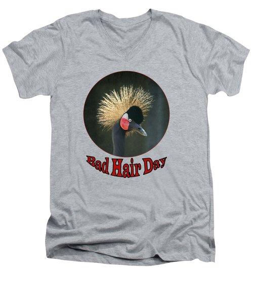 Crowned Crane - Bad Hair Day - Transparent Men's V-Neck T-Shirt by Nikolyn McDonald