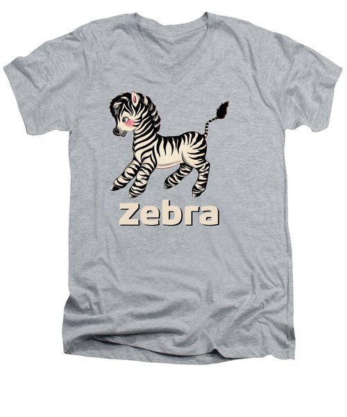Cute Baby Zebra Pattern Vintage Book Illustration Pattern Men's V-Neck T-Shirt by Tina Lavoie