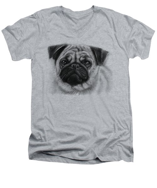 Cute Pug Men's V-Neck T-Shirt by Olga Shvartsur