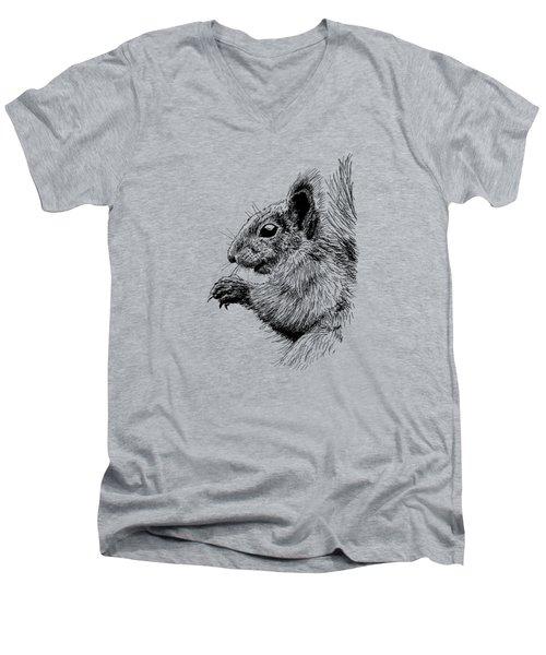 Cute Squirrel Men's V-Neck T-Shirt by Masha Batkova