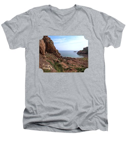 Daisies In The Granite Rocks At Corbiere Men's V-Neck T-Shirt by Gill Billington