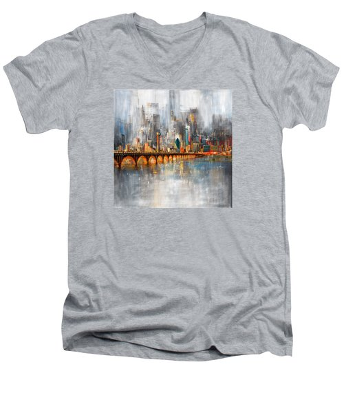 Dallas Skyline 217 1 Men's V-Neck T-Shirt by Mawra Tahreem