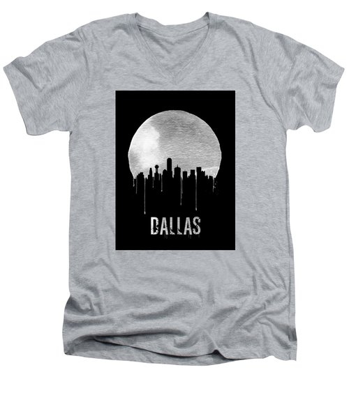 Dallas Skyline Black Men's V-Neck T-Shirt by Naxart Studio