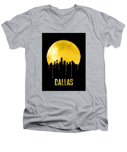 Dallas Skyline Yellow Men's V-Neck T-Shirt by Naxart Studio