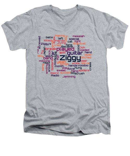 David Bowie - Ziggy Stardust Lyrical Cloud Men's V-Neck T-Shirt by Susan Maxwell Schmidt
