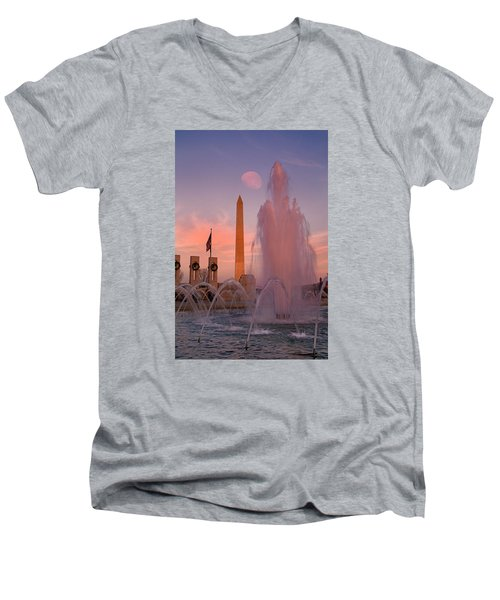 Dc Sunset Men's V-Neck T-Shirt by Betsy Knapp