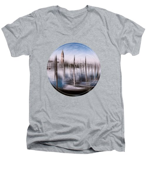 Digital-art Venice Grand Canal And St Mark's Campanile Men's V-Neck T-Shirt by Melanie Viola