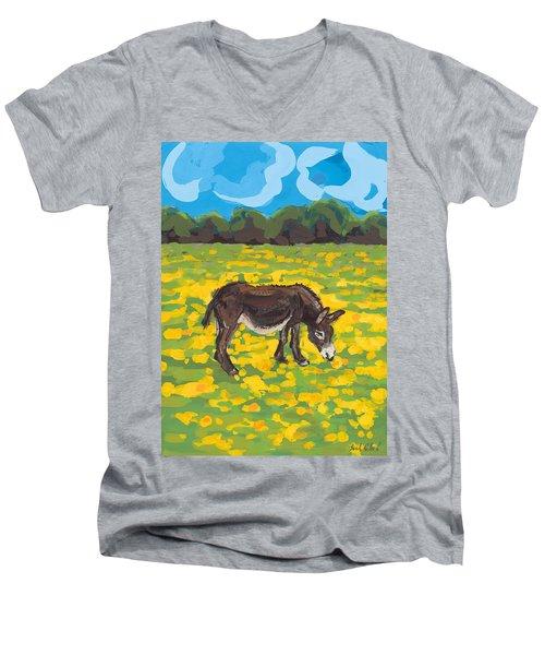 Donkey And Buttercup Field Men's V-Neck T-Shirt by Sarah Gillard