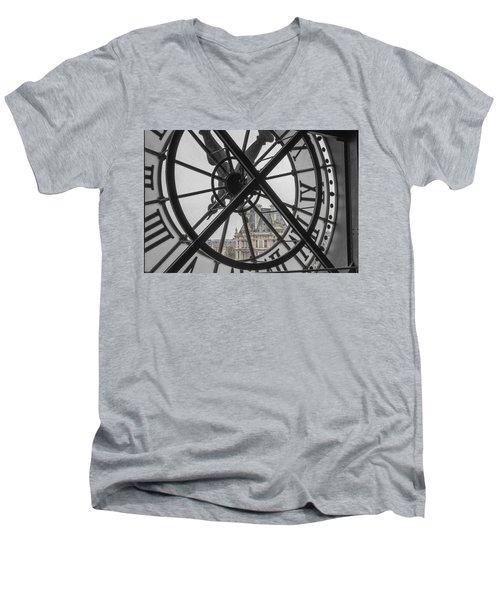 D'orsay Clock Paris Men's V-Neck T-Shirt by Joan Carroll