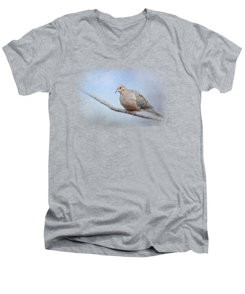 Dove In The Snow Men's V-Neck T-Shirt by Jai Johnson