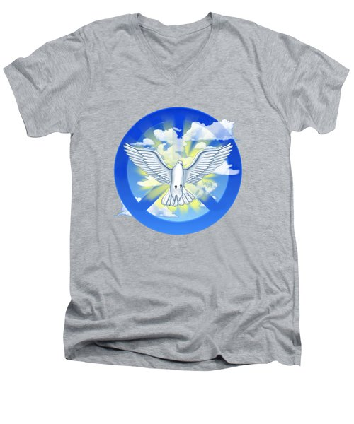 Dove Of Peace Men's V-Neck T-Shirt by Chris MacDonald