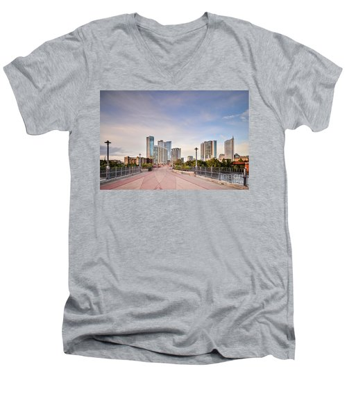 Downtown Austin Skyline From Lamar Street Pedestrian Bridge - Texas Hill Country Men's V-Neck T-Shirt by Silvio Ligutti