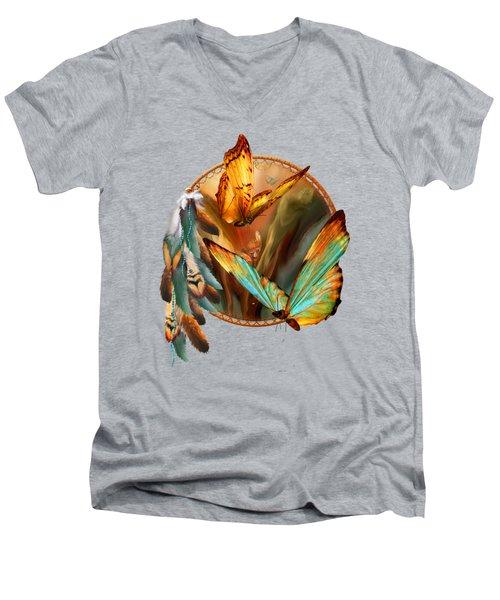 Dream Catcher - Spirit Of The Butterfly Men's V-Neck T-Shirt by Carol Cavalaris