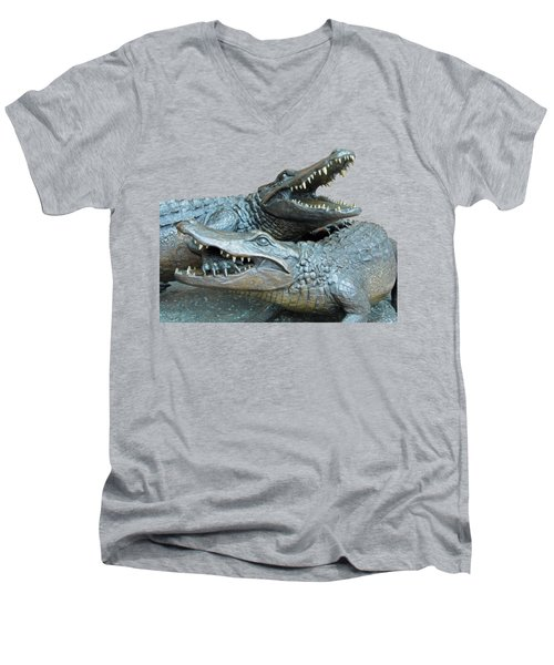 Dueling Gators Transparent For Customization Men's V-Neck T-Shirt by D Hackett