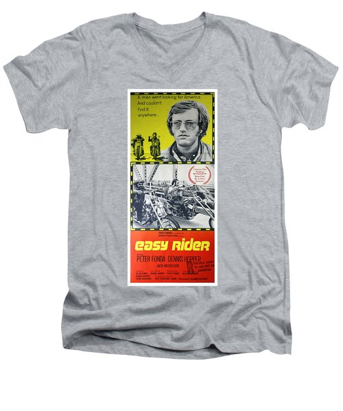 Easy Rider Movie Lobby Poster  1969 Men's V-Neck T-Shirt by Daniel Hagerman