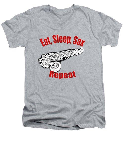 Eat Sleep Sax Repeat Men's V-Neck T-Shirt by M K  Miller