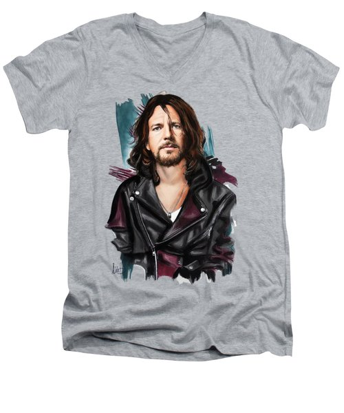 Eddie Vedder Men's V-Neck T-Shirt by Melanie D