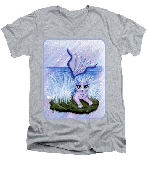 Elemental Water Mermaid Cat Men's V-Neck T-Shirt by Carrie Hawks