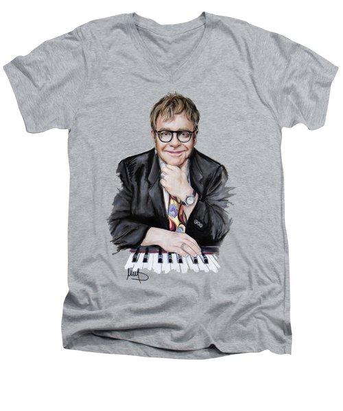 Elton John Men's V-Neck T-Shirt by Melanie D