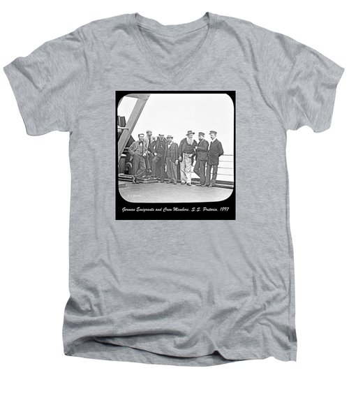 Men's V-Neck T-Shirt featuring the photograph Emigrants Passangers And Crew Members On Deck Of Ss Pretori by A Gurmankin