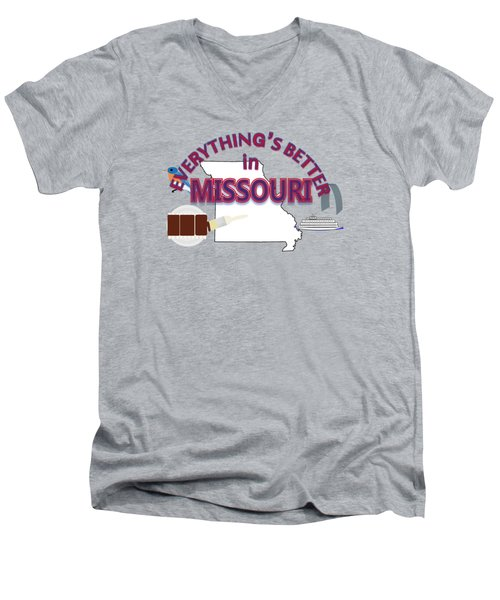 Everything's Better In Missouri Men's V-Neck T-Shirt by Pharris Art