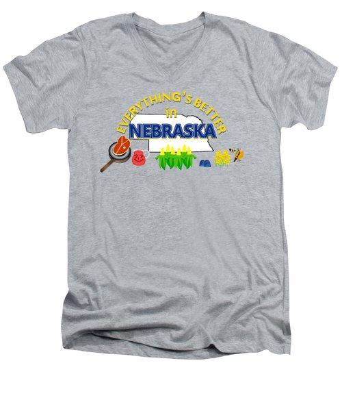 Everything's Better In Nebraska Men's V-Neck T-Shirt by Pharris Art