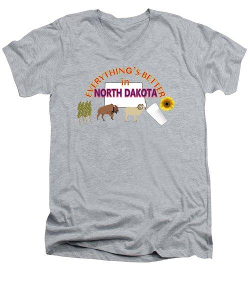 Everything's Better In North Dakota Men's V-Neck T-Shirt by Pharris Art