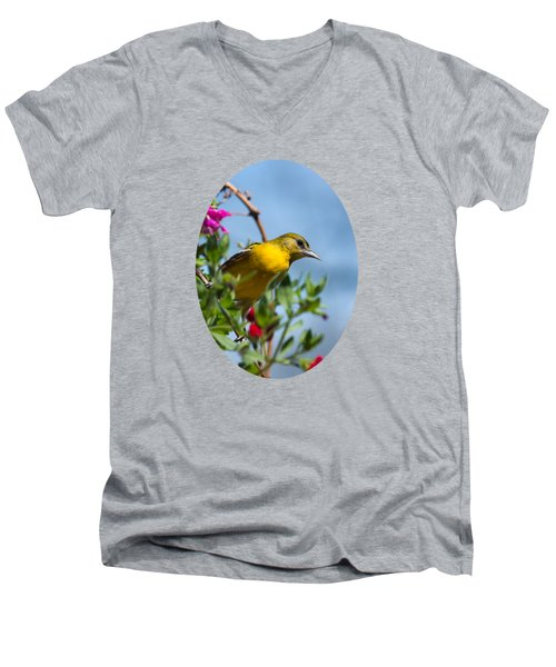Female Baltimore Oriole In A Flower Basket Men's V-Neck T-Shirt by Christina Rollo