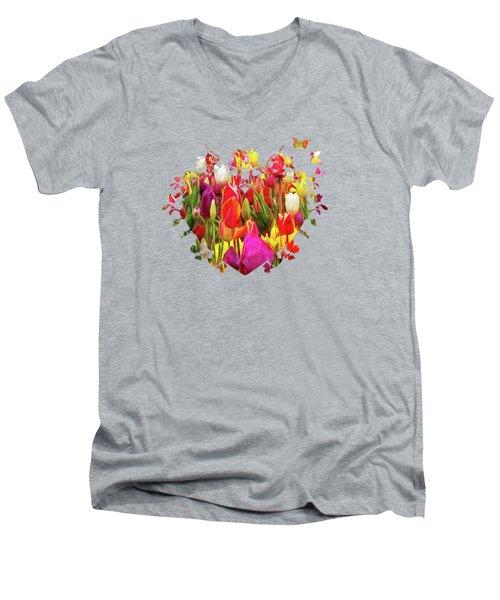 Field Of Tulips Men's V-Neck T-Shirt by Thom Zehrfeld