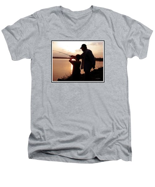 Men's V-Neck T-Shirt featuring the photograph Fishing At Sunset Grandfather And Grandson by A Gurmankin
