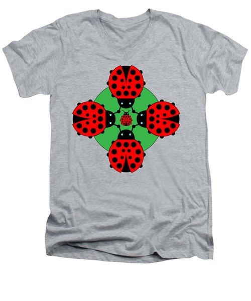 Five Lucky Ladybugs Men's V-Neck T-Shirt by John Groves