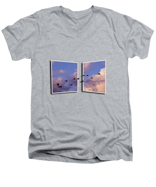 Flying Across Men's V-Neck T-Shirt by Roger Wedegis