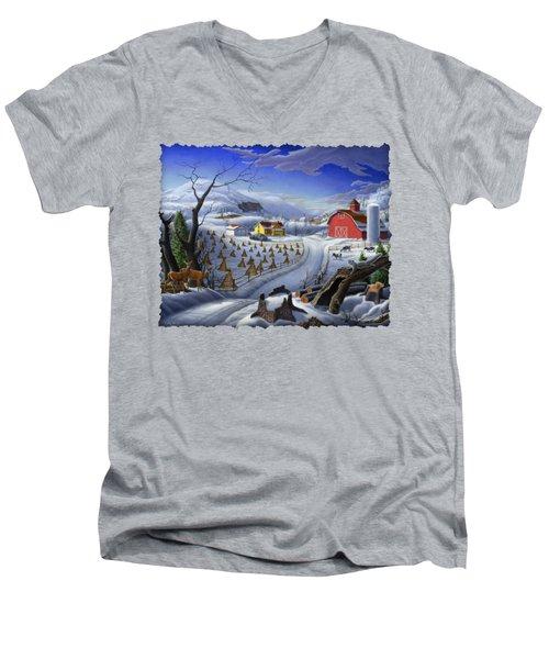 Folk Art Winter Landscape Men's V-Neck T-Shirt by Walt Curlee