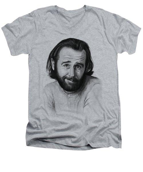 George Carlin Portrait Men's V-Neck T-Shirt by Olga Shvartsur