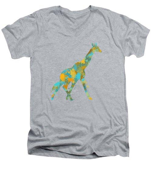 Giraffe Watercolor Art Men's V-Neck T-Shirt by Christina Rollo