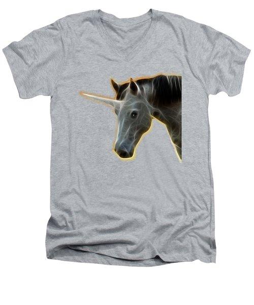 Glowing Unicorn Men's V-Neck T-Shirt by Shane Bechler