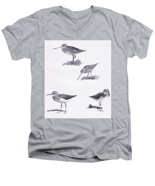 Godwits And Green Sandpipers Men's V-Neck T-Shirt by Archibald Thorburn