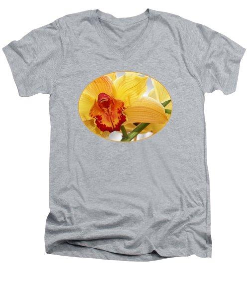 Golden Cymbidium Orchid Men's V-Neck T-Shirt by Gill Billington