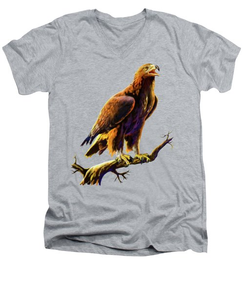 Golden Eagle Men's V-Neck T-Shirt by Anthony Mwangi