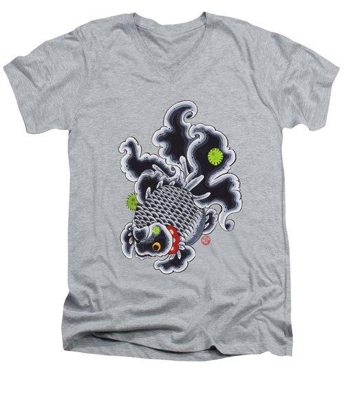 Goldfish Black Men's V-Neck T-Shirt by Shih Chang Yang