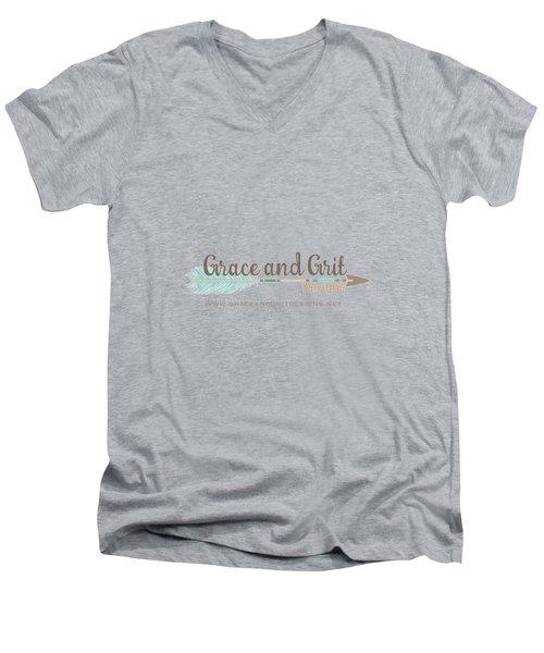 Grace And Grit Logo Men's V-Neck T-Shirt by Elizabeth Taylor