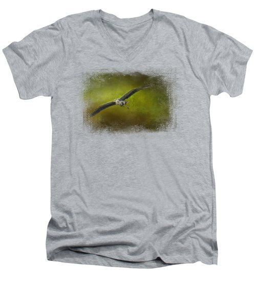 Great Blue Heron In The Grove Men's V-Neck T-Shirt by Jai Johnson