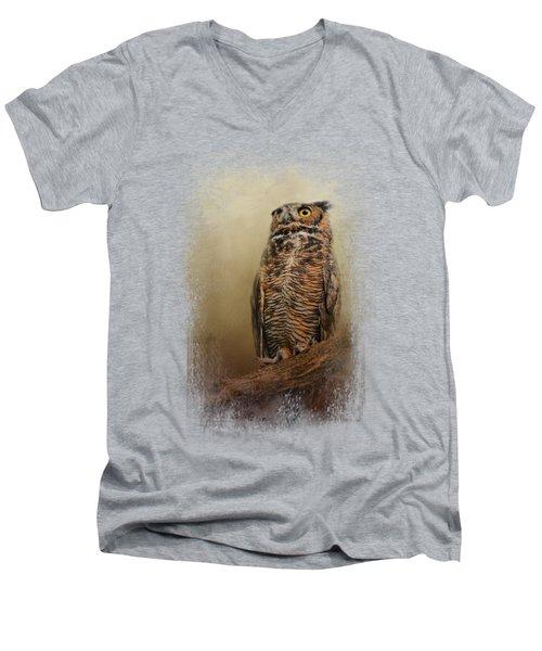 Great Horned Owl At Shiloh Men's V-Neck T-Shirt by Jai Johnson