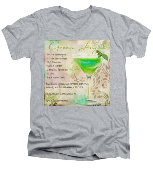 Green Angel Mixed Cocktail Recipe Sign Men's V-Neck T-Shirt by Mindy Sommers