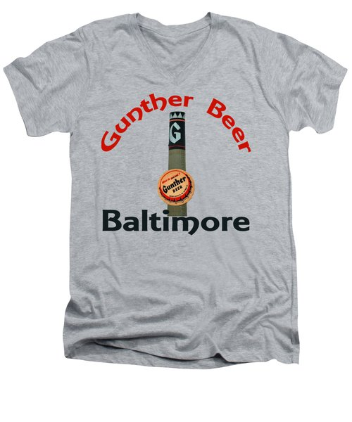 Gunther Beer Baltimore Men's V-Neck T-Shirt by Jost Houk